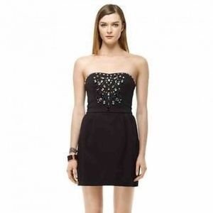 Club Monaco Bejeweled Black Strapless Dress